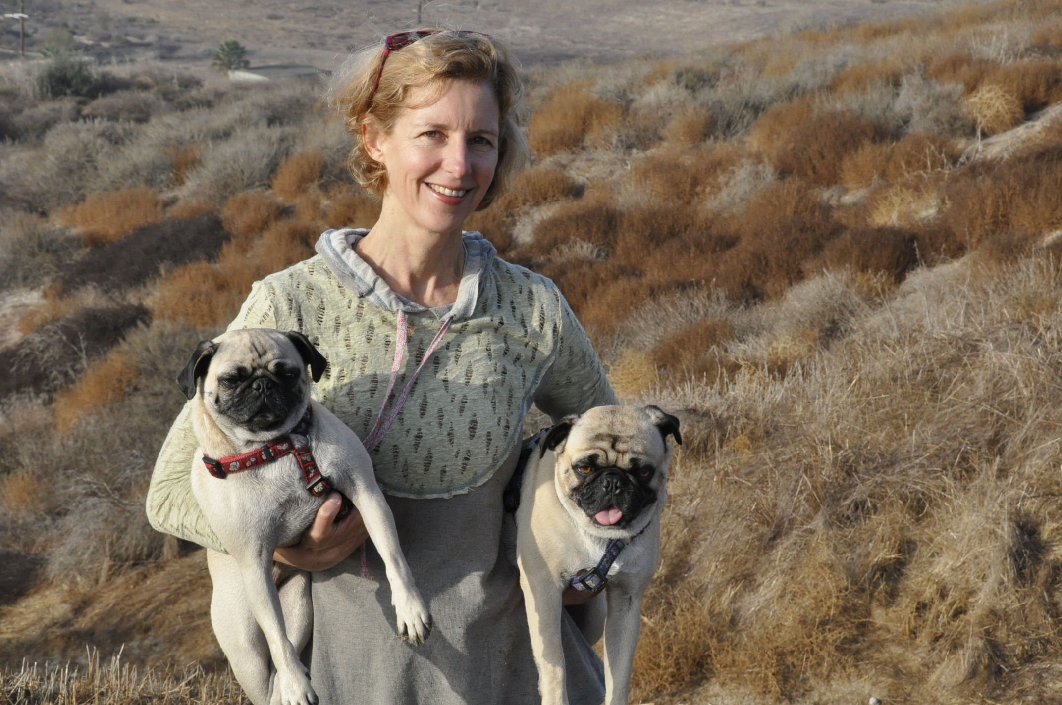 Beate with Pugs